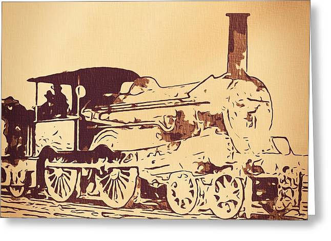 Train Drawing Greeting Cards - Vintage Locomotive Greeting Card by Dan Sproul
