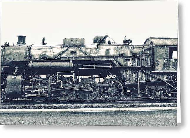 Midwestern Art Greeting Cards - Vintage Locomotive Greeting Card by Emily Kay