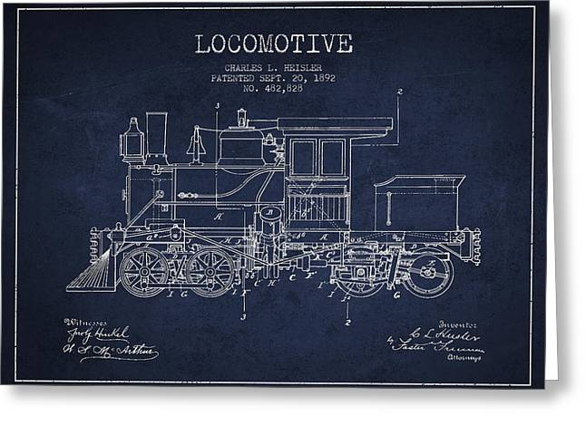 Technical Art Greeting Cards - Vintage Locomotive patent from 1892 Greeting Card by Aged Pixel