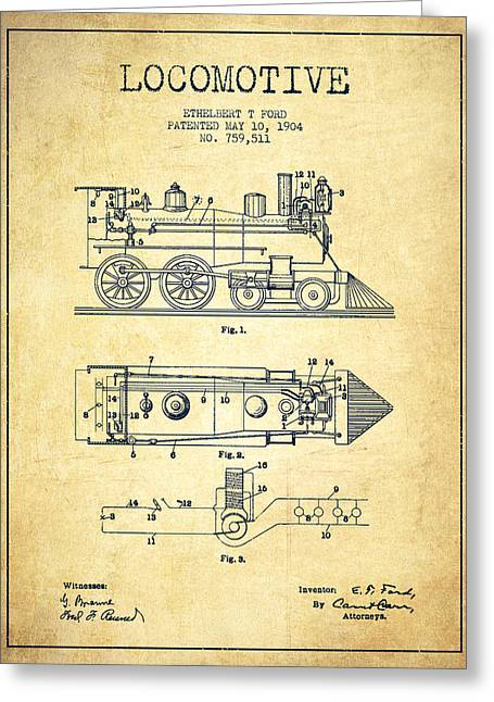 Vintage Locomotive Patent From 1904 - Vintage Greeting Card by Aged Pixel