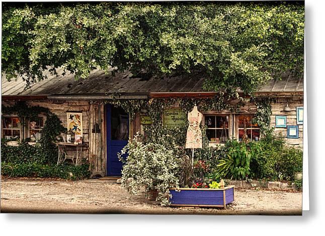 Cabin Window Greeting Cards - Vintage Log Cabin Shop Greeting Card by Linda Phelps