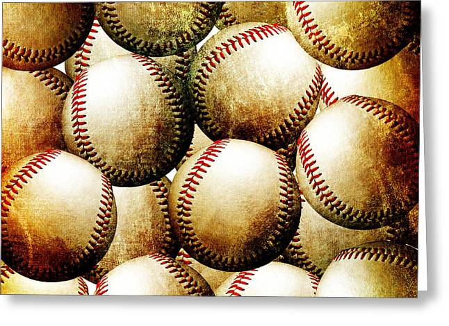 Baseball Photographs Greeting Cards - Vintage Look Baseballs Greeting Card by Andee Design