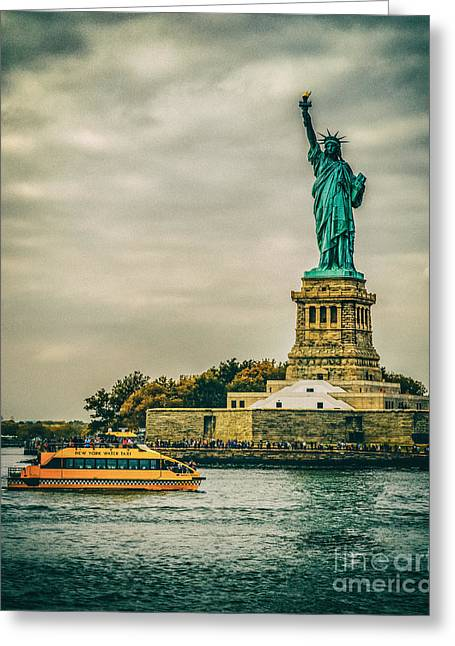 Oceans 11 Greeting Cards - Vintage look of the Statue of Liberty - Liberty Island Hudson River New York City Greeting Card by Silvio Ligutti