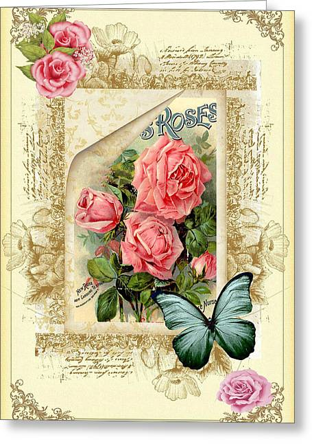 Colorful Roses Greeting Cards - Vintage Look Roses and Butterfly Greeting Card by DMiller