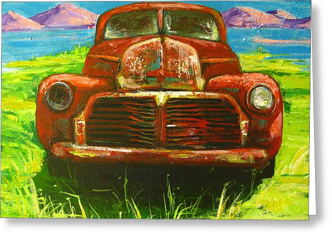 Rusted Cars Paintings Greeting Cards - Vintage love Greeting Card by Patricia Awapara