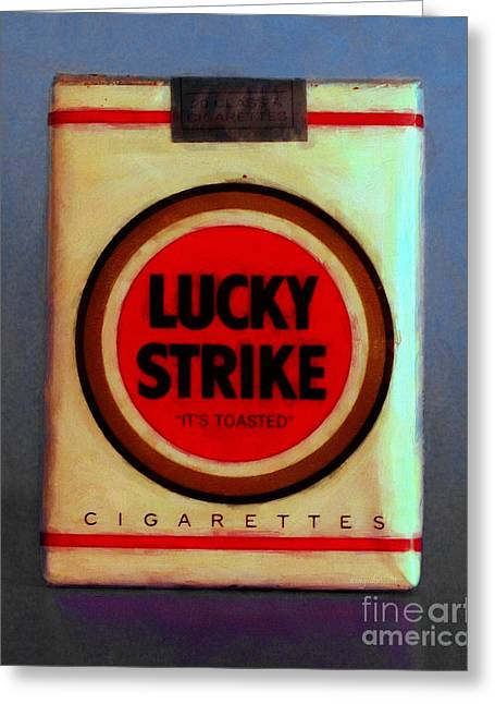 Stogie Greeting Cards - Vintage Lucky Strike Cigarette - Painterly - v1 Greeting Card by Wingsdomain Art and Photography