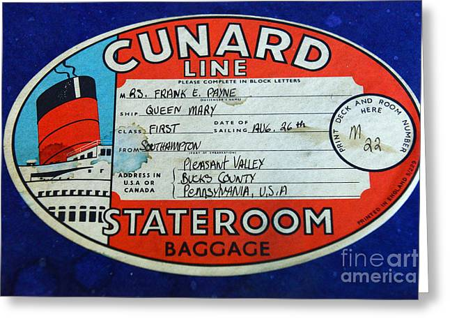Star Line Greeting Cards - Vintage Luggage Label Greeting Card by Paul Ward