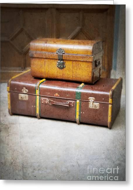 Evacuee Greeting Cards - Vintage Luggage Greeting Card by Lee Avison