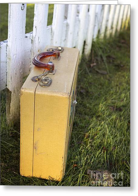 Picket Fence Greeting Cards - Vintage luggage left by a white picket fence Greeting Card by Edward Fielding