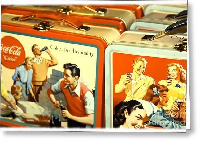 Lunch Box Greeting Cards - Vintage Lunch Boxes Greeting Card by Sophie Vigneault