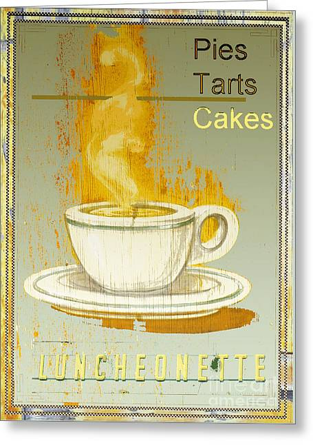 Luncheonettes Greeting Cards - Vintage Luncheonette Coffee Sign - Kitchen Dining Room Art Greeting Card by ArtyZen Studios - ArtyZen Home