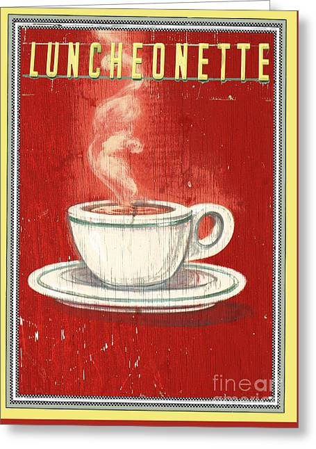 Luncheonettes Greeting Cards - Vintage Coffee Sign -  Luncheonette sign on red distressed wood Greeting Card by ArtyZen Studios - ArtyZen Home