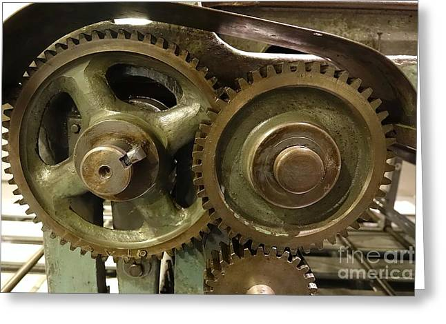 Axle Gear Greeting Cards - Vintage Machinery with Gears Greeting Card by Yali Shi