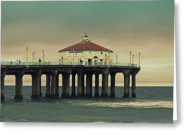 Kim Hojnacki Greeting Cards - Vintage Manhattan Beach Pier Greeting Card by Kim Hojnacki