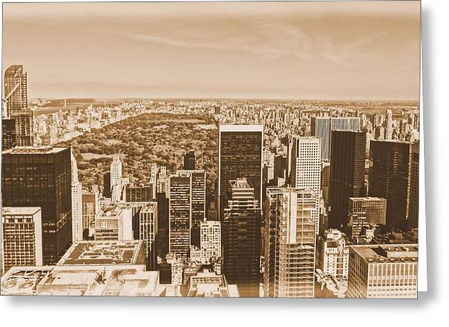 New Mind Greeting Cards - Vintage Manhattan Skyline And Central Park Greeting Card by Dan Sproul