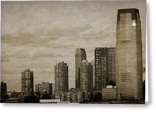 Window Of Life Mixed Media Greeting Cards - Vintage Manhattan Skyline Greeting Card by Dan Sproul