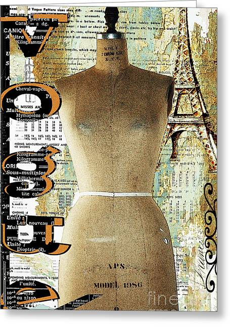 Eiffel Tower Mixed Media Greeting Cards - Vintage Mannequin Fashion Print Greeting Card by AdSpice Studios