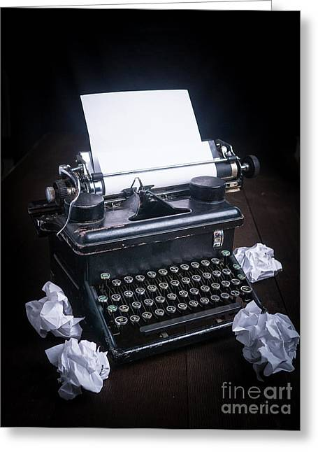 Typewriter Keys Photographs Greeting Cards - Vintage Manual Typewriter Greeting Card by Edward Fielding