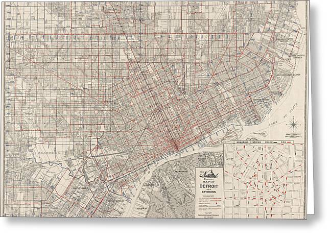 Vintage Map Of Detroit Michigan From 1947 Greeting Card by Blue Monocle