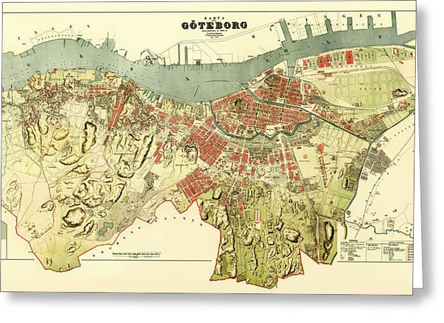 1880s Drawings Greeting Cards - Vintage Map of Gothenburg Sweden 1888 Greeting Card by Mountain Dreams