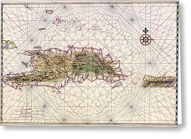 Hispaniola Greeting Cards - Vintage Map of Nautical Routes Hispaniola Puerto Rico Greeting Card by Mountain Dreams