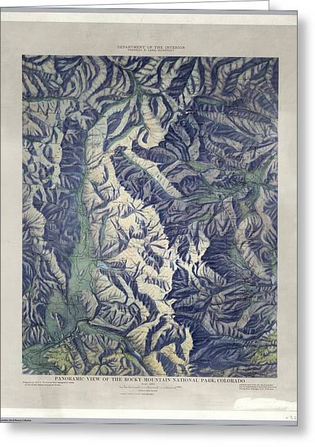 Vintage Map Of Rocky Mountain National Park - 1914 Greeting Card by Eric Glaser