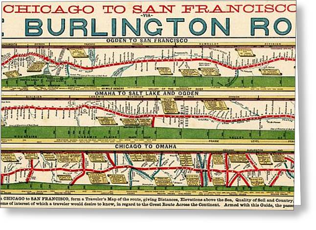 Bnsf Greeting Cards - Vintage Map of the Burlington Rail Route Greeting Card by Benjamin Yeager