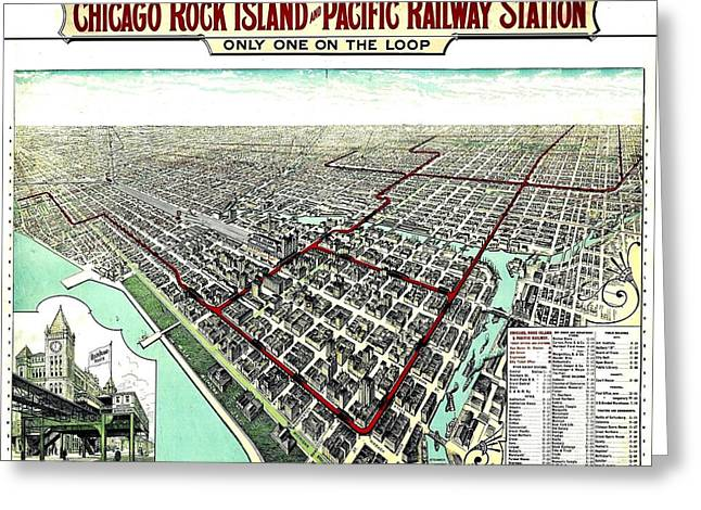 Vintage Map Photographs Greeting Cards - Vintage Map of the Chicago L Greeting Card by Benjamin Yeager