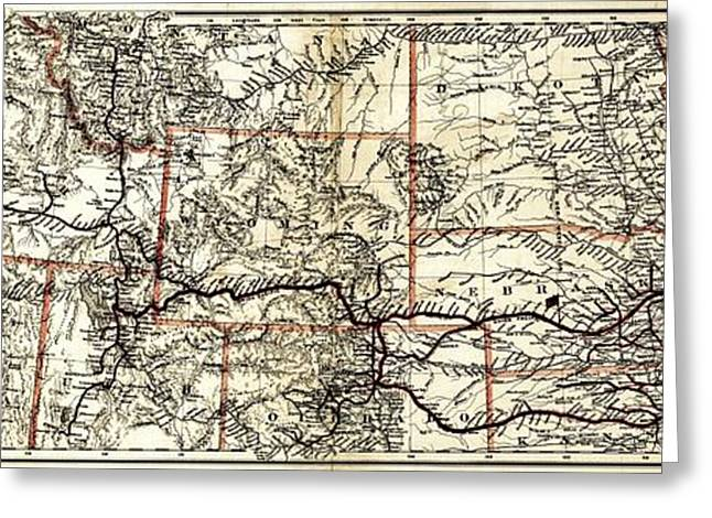 Vintage Map Photographs Greeting Cards - Vintage Map of the Union Pacific Rail Lines Greeting Card by Benjamin Yeager