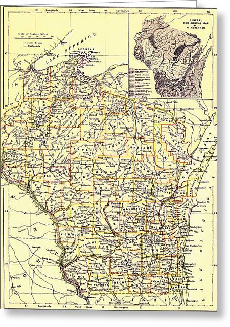1880s Greeting Cards - Vintage Map of Wisconsin 1888 Greeting Card by Mountain Dreams