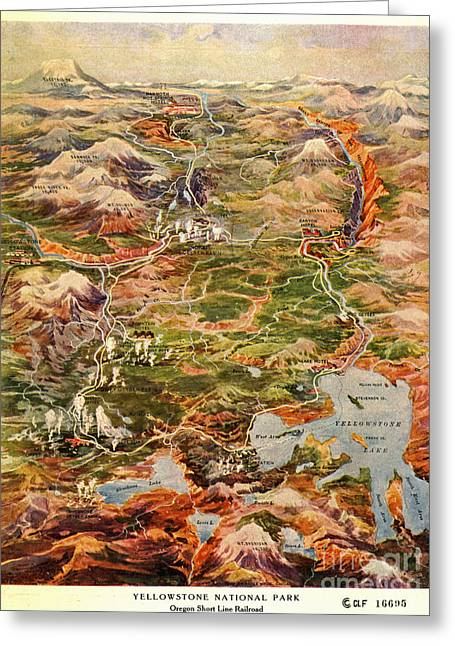 Montana State Map Greeting Cards - Vintage Map of Yellowstone National Park Greeting Card by Vintage Map