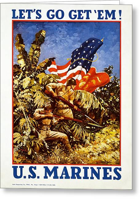 Signed Drawings Greeting Cards - Vintage Marines Recruiting Poster Greeting Card by Mountain Dreams