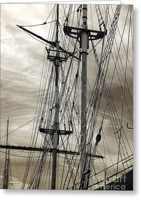 Sailboat Photos Greeting Cards - Vintage Mast Greeting Card by John Rizzuto