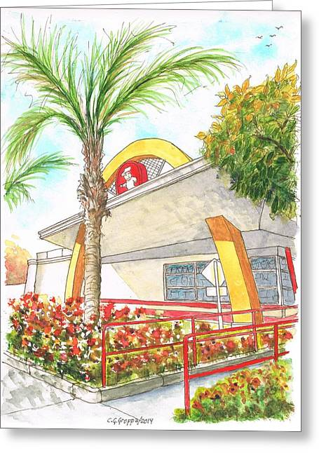 Sandwich Paintings Greeting Cards - Vintage McDonalds in Whittier - California Greeting Card by Carlos G Groppa