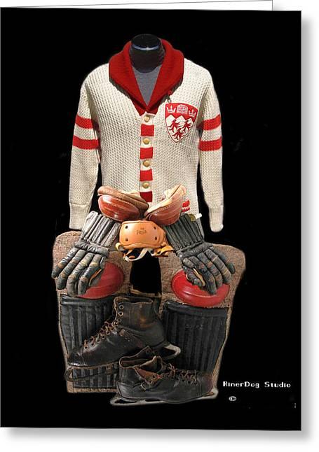 Hockey Equipment Greeting Cards - Vintage McGill Sweater and Hockey Equipment Greeting Card by Spencer Hall