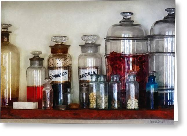 Physicians Greeting Cards - Vintage Medicine Bottles Greeting Card by Susan Savad