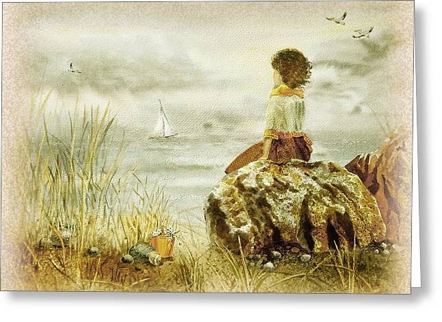 Storm On The Beach Greeting Cards - Vintage Memories Girl And The Ocean Greeting Card by Irina Sztukowski