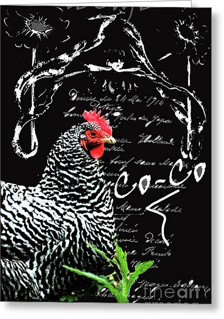Country Cottage Mixed Media Greeting Cards - Vintage Menu and Chicken Print Greeting Card by adSpice Studios