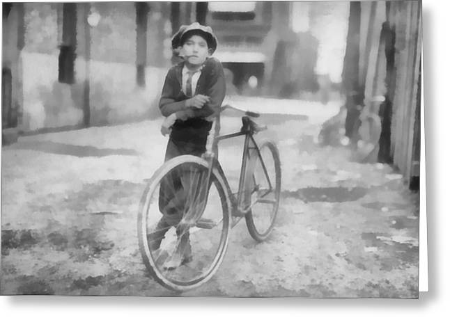 Vintage Messenger Boy Greeting Card by Dan Sproul