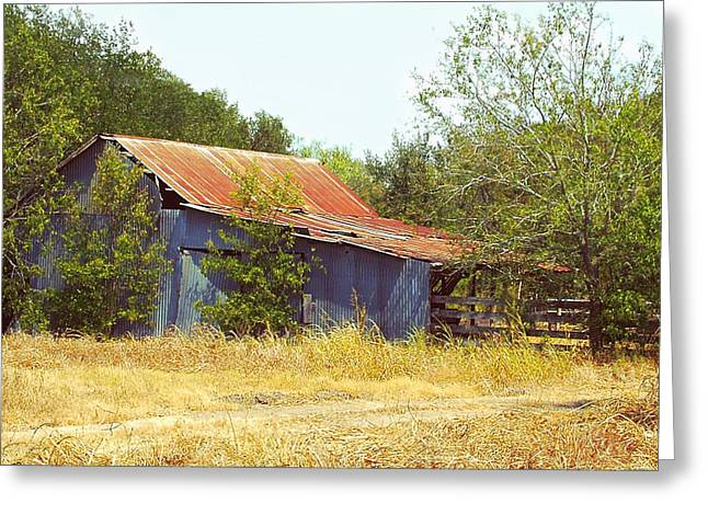 Old Country Roads Greeting Cards - Vintage Metal Barn Greeting Card by Linda Phelps