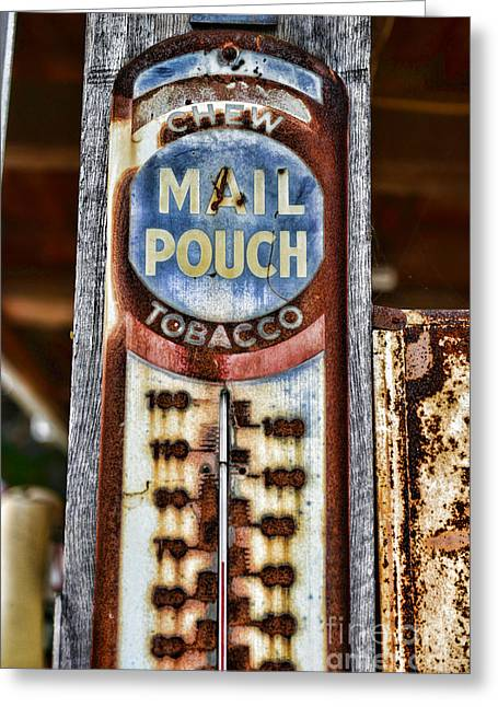 Chewing Tobacco Greeting Cards - Vintage Metal Mail Pouch Tobacco Thermometer Greeting Card by Paul Ward