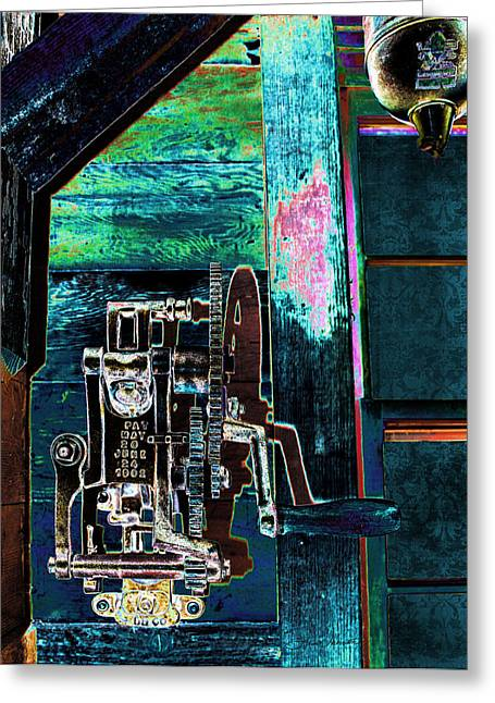 Old Grinders Digital Art Greeting Cards - Vintage Metal Greeting Card by Sylvia Thornton