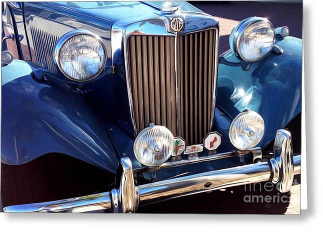 English Car Greeting Cards - Vintage MG Greeting Card by Jon Neidert