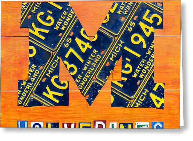 Vintage Michigan License Plate Art Greeting Card by Design Turnpike