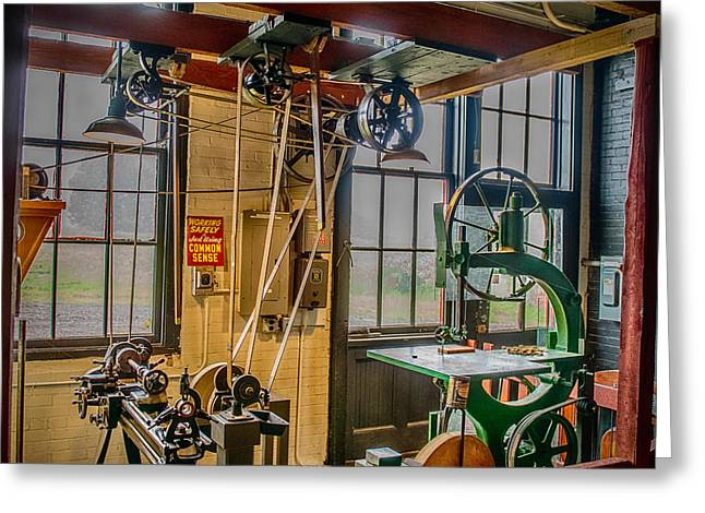 Belt Driven Greeting Cards - Vintage Michigan Machine Shop Greeting Card by Paul Freidlund