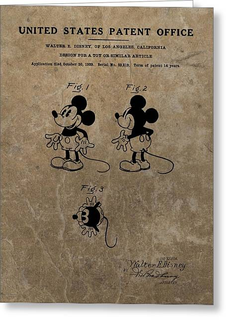 Child Toy Mixed Media Greeting Cards - Vintage Mickey Mouse Patent Greeting Card by Dan Sproul