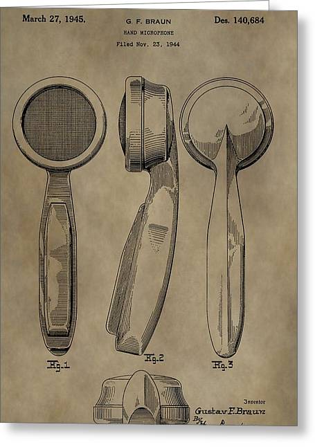 Condenser Greeting Cards - Vintage Microphone Patent Greeting Card by Dan Sproul