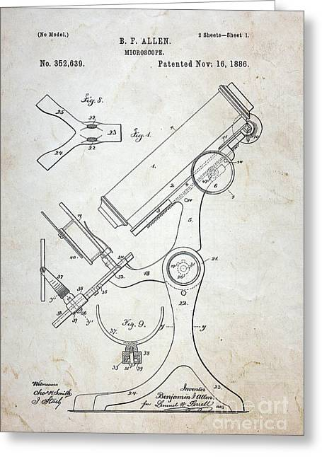 Medic Greeting Cards - Vintage Microscope Patent  Greeting Card by Paul Ward
