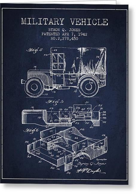 Off-road Greeting Cards - Vintage Military Vehicle Patent from 1942 Greeting Card by Aged Pixel