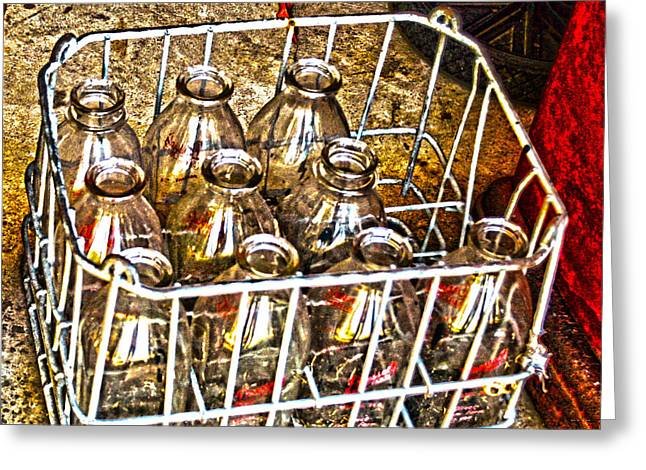 Cruet Greeting Cards - Vintage Milk Bottles in a Crate   Greeting Card by Lesa Fine